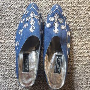 Vintage J. Renee blue slip on heels, 9M